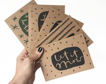 5 Christmas cards bundle // Christmas cards bundle // recycled Christmas cards // kraft paper Christmas cards //5 pack minimal festive cards