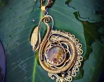 Dragon Amber Flames.  Steampunk Pendant. Sacred geometry. Wings. Brass Jewellery