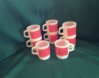 8 Fire King Red Gingham Stack Mugs Vintage Anchor Hocking Set of 8 Stack-able Checkered D-Handle Cups