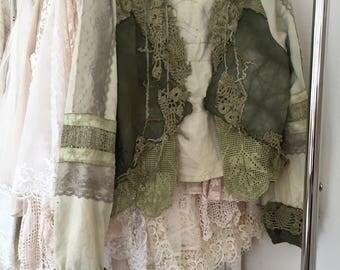 Bohemian clothing,cottage chic jacket,repurposed crochet, gypsy lace clothing ,hippie inspired ,vintage cardi,handmade cardi,eco friendly