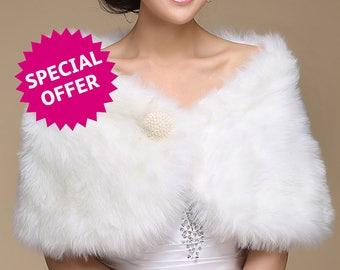 0ff-White faux Fur Short Wrap with Pearl-Brooch Decor - Wedding, Bridal, Bridesmaid, Formal, Date Night