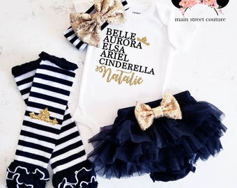 Princess Custom Name Role Call glitter baby bodysuit leg warmer bloomer set gold and black baby girl set