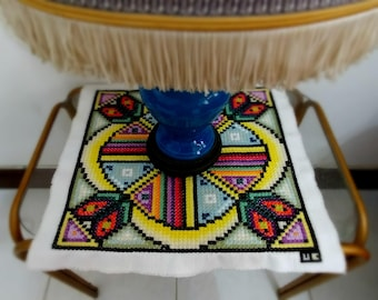 Under the Sun Wallhanging and Table Decoration embroidered by hands, One of a kind