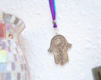 Hamsa wall hanging with ribbon. Protection wall art. Silver hand wall art, hamsa wall decor. Spa, meditation, yoga, evil eye, Fatima.