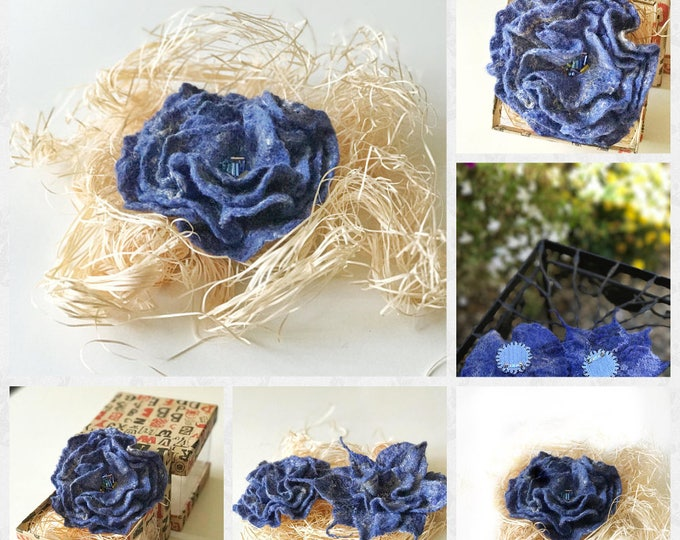 valentine's day gift, Flower Felted Brooch, Felted Pin Wool, Felted Brooch Flower, Felted Flower Pin, Hair Accessories, Christmas Gifts