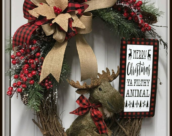 Christmas wreath - Merry Christmas Ya Filthy Animal Moose Grapevine wreath - Buffalo check Christmas wreath - Rustic Moose Christmas wreath