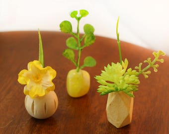 Set of 3 Miniature Vases - Tropical Yellows