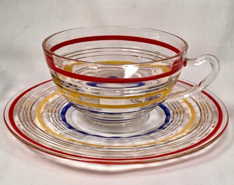 Cup and Saucer Set in Banded Rings Clear and Multi Colored Bands by Anchor Hocking 1927-1933