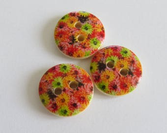 Orange and red flower pattern wooden button