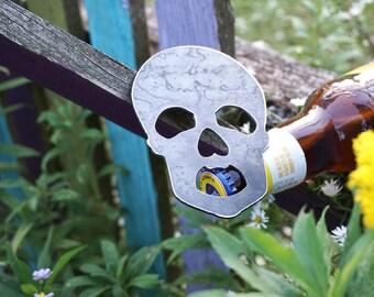 Skull Rustic Raw Steel Bottle Opener Recycled Metal Industrial , Travel Gift, wedding favor, Party gift, beer opener