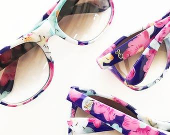"Boho Chic Floral Sunglasses, ""Gold Metallic Monogram"""