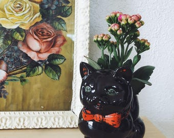 Ceramic Black Cat Planter