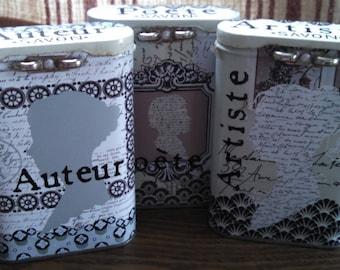 artiste poete auteur french anthropologie tins set of 3 jane austen inspired