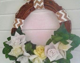 Grapevine Summer Wreath, Floral Wreath, Door Decoration, Wall Decor, Housewarming Gift, Wreath 16 Inches Wide