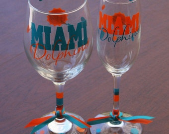 Miami Dolphins Glassware, Football Glassware, Sports Glassware, Go Dolphins, Dolphins Gifts