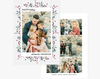 Christmas Card Template for photographers PSD Flat card - Christmas Card - Photoshop Template - CD073
