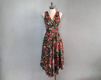 vintage 70's multi floral dress with asymmetric hem in black