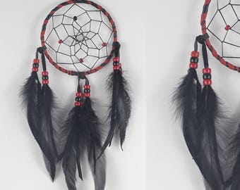Wall Hanging Dreamcatcher, Red and Black Dream Catcher, Native Style Bedroom decor, Boho Dream Catcher