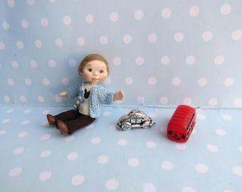 OOAK miniature doll BOY Toddler. 1:12 Dollhouse miniature doll POSEABLE. Polymer clay Handsculpt art doll. Artist Doll