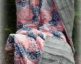 Double Sided Minky Weighted Blanket 7-20 lbs-Large Blooms Coral and Gray Minky/Silver Chinchilla Minky