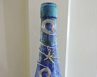 Starfish Wine Bottle Light | Nautical Bottle Light | Beach Light | Blue Home Decor | Bar Decor | Summer House | Ocean Decor | Beach Lamp