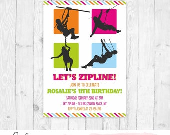 Zipline Invitation Birthday Printable Zip Line Party Girl Invite Boy