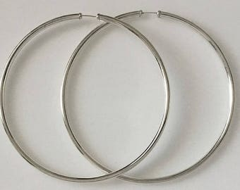 Real 925 Sterling Silver Extra Large Hoop Earrings 75mm Plain with Capped Ends Gypsy Style