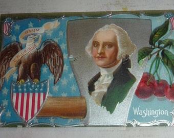 George Washington, Hatchet, Cherries, Eagle Antique NASH Patriotic Postcard UNUSED