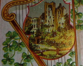 Harp With Castle and Shamrocks St. Patrick's Day Antique Postcard