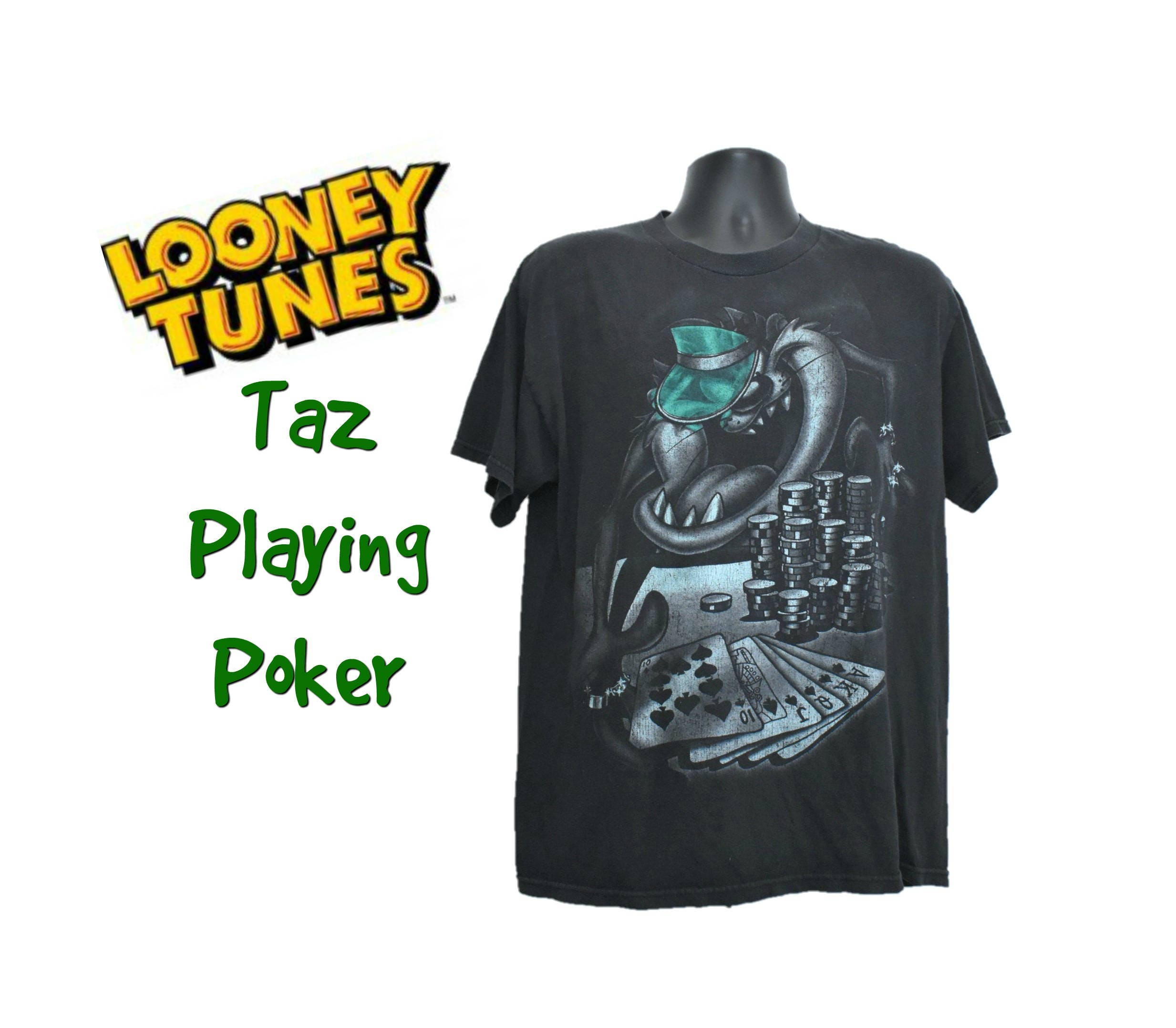 90s Tasmanian Devil Poker T Shirt Size Large Mens Women Unisex