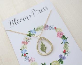 Fern Teardrop Pressed Flower Necklace