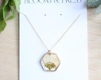 White Chrysanthemum Mum Pressed Flower Necklace
