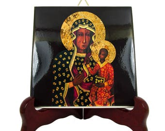 Catholic gifts - Black Madonna of Częstochowa - Virgin Mary icon on ceramic tile - Our Lady of Częstochowa Virgin of Częstochowa sacred art