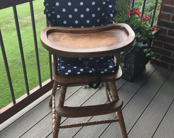 Highchair Cover   High Chair Pad,   High Chair Cushion.  Navy polka dot for vintage highchairs.