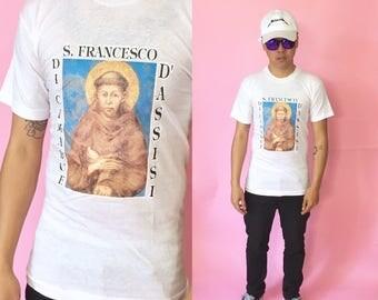 Vintage tshirt 70s size small 80s 90s church saints fear of god kanye west 1990s 1980s white tshirt graphic tshirt