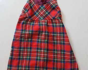 Vintage girls long tartan dress.