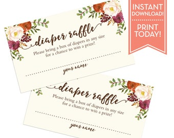 Diaper Raffle Ticket Fall Floral - Diaper Raffle Ticket Printable - Raffle Card - Insert - Baby Shower Games - Instant Download - LR1086