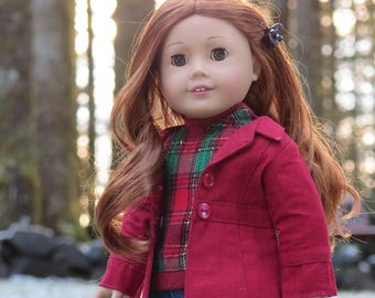 Ready to Ship! 18 Inch Doll Holiday Coat - Red Doll Trench Coat/Overcoat - American Made Doll Clothes - Liberty Jane Le Marais Jacket/Coat