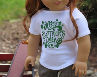 Newly Released! 18 Inch Doll St Patrick's Day Tee Shirt - White Boatneck Knit Shirt - American Made Girl Doll Clothes - Modern Doll Clothes
