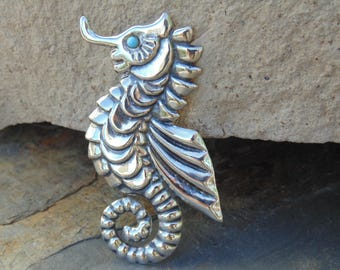 Mexico Silver ~ Large Seahorse Pin Done in Repousse with Blue Eye - c. 1940's