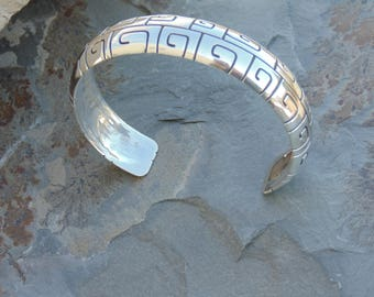 Kabana ~ Sterling Silver Greek Key Incised Design Domed Cuff Bracelet - 34 Grams