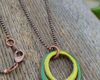 Green Circle Enameled Pendant Necklace