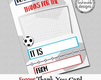 """Soccer Thank You Card, Kids Card, Instant Download, 4x6"""" JPG & PDF"""