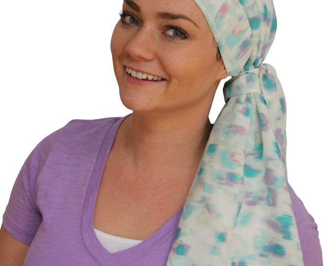 Featured listing image: Jessica Pre-Tied Head Scarf - Women's Cancer Headwear, Chemo Scarf, Alopecia Hat, Head Wrap, Head Cover for Hair Loss - Teal Watercolors