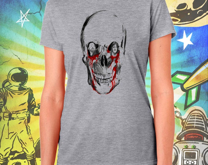 The Walking Dead / Rick Grimes / Daryl Dixon / Sitting in a Walker Skull / Women's Zombie Gray Performance T-Shirt