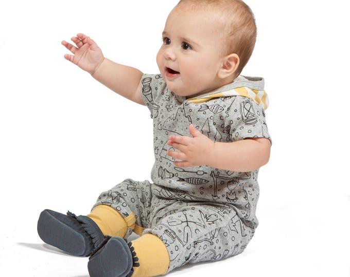 SPRING SALE! Baby Hoodie Romper, Baby Boy Hoodie Onesie Romper, Baby Hoodie Onesie, Baby Hooded Romper, Short Sleeve Romper, Happy Camper