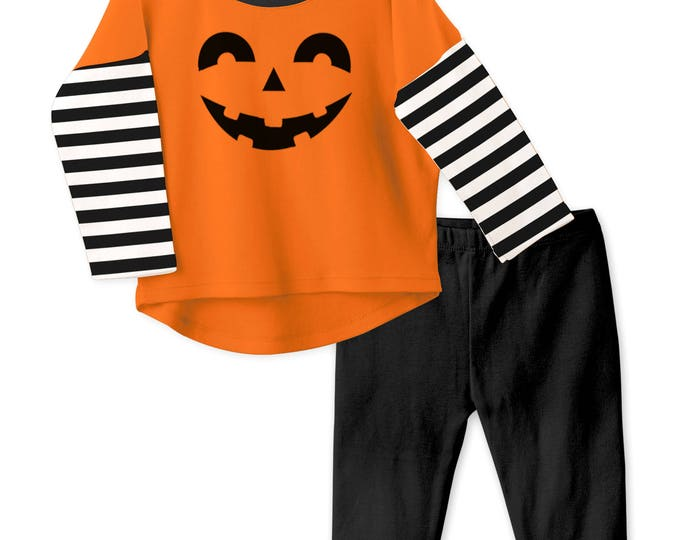 CLEARANCE! Baby Halloween Outfit, Baby Boy Halloween Outfit, Shirt, Leggings, BOO, Jack-o-lantern, Black Stripes, Tesababe