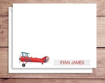 Plane Note Cards - Plane Flat Note Cards - Personalized Plane Stationery - Plane Thank You Notes - Illustrated Note Cards