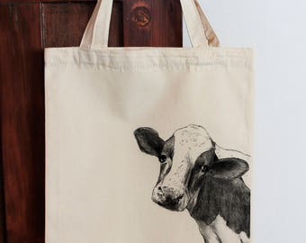 Cow Tote Bag Calico Shopping Bag Gift for Vegan Cow bag, Cow tote bag, Fabric Shopping Bag Cotton Eco Bag Graphic Tote Natural Tote