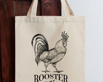 Rooster Tote Bag, Calico Shopping Bag Original Illustration, Rooster Bag, Rooster tote Bag  Shopping bag, Eco Bag, Cotton Bag, Country Style